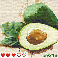Картина за номерами Авокадо, кольоровий полотно на картоні, 40*40 см, без коробки Barvi