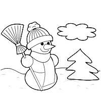 Картина по контуру Снеговик, 25*25 см, RB, картина-раскраска без номеров
