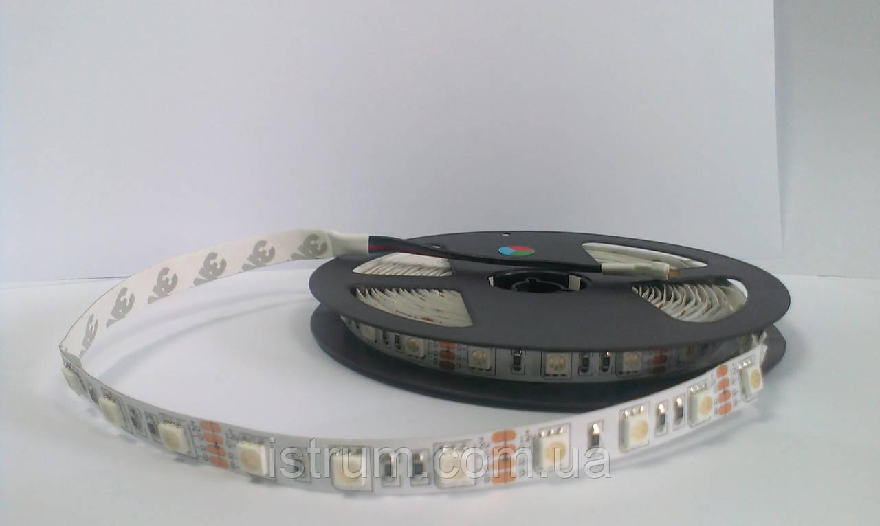 Изолированная LED лента YM 3528-60L/RGB 4Lm/led, IP 65 с самоклейкой, 12V DC
