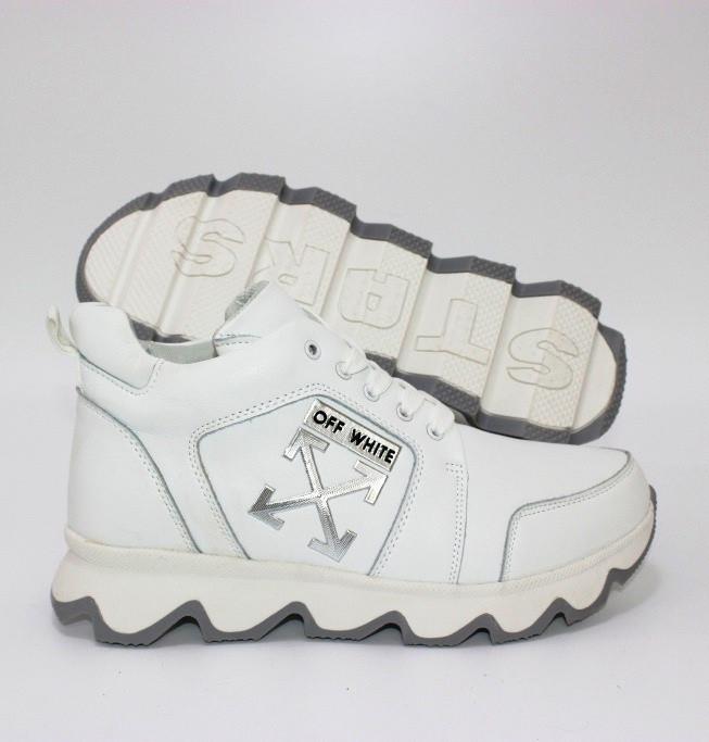 Шкіряні черевики білого кольору на шнурівці шкіряні унісекс