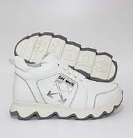 Шкіряні черевики білого кольору на шнурівці шкіряні унісекс, фото 1