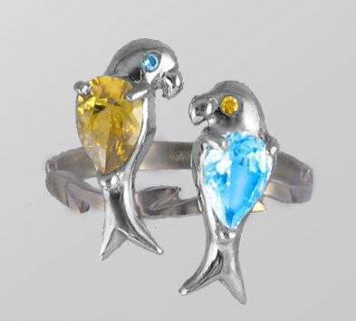 Кольцо  женское серебряное Два Попугая f 400 180