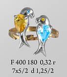 Кольцо  женское серебряное Два Попугая f 400 180, фото 2