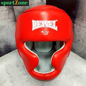 Шлем боксерский защитный тренировочный Reyvel кожа L (57-61 см) красный