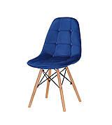 Стілець в скандинавському стилі оббивка оксамит Alex , колір синій В-6