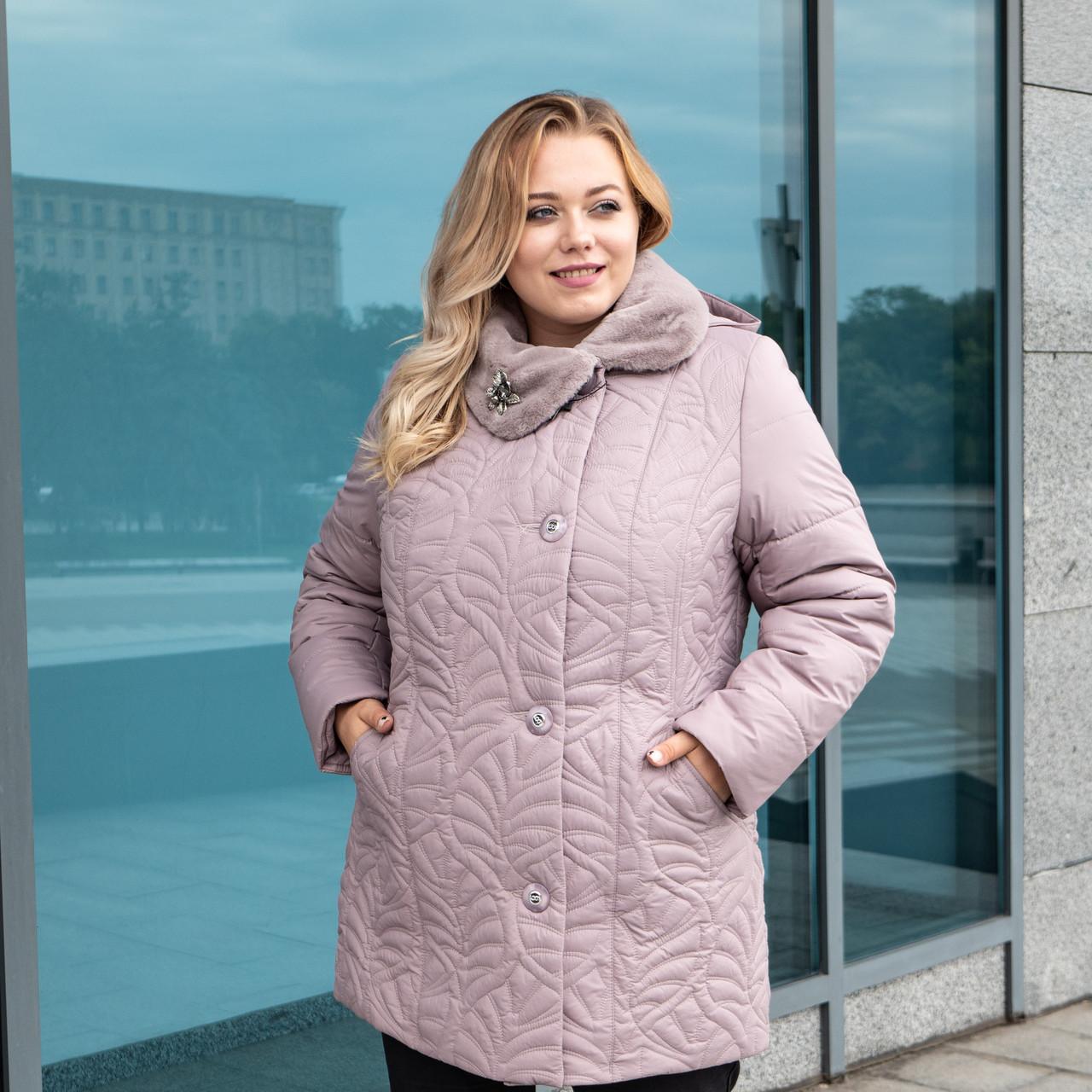 Жіночі зимові куртки великих розмірів 54-64 пудра