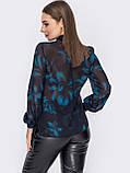 Блузка в квітковому принті з шифону з довгим рукавом і коміром стійка, фото 3