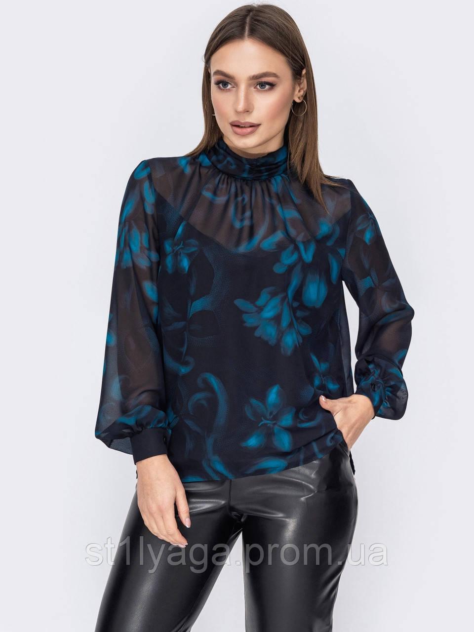 Блузка в квітковому принті з шифону з довгим рукавом і коміром стійка
