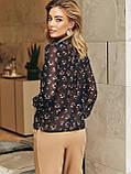 Блузка в квітковому принті з шифону з довгим рукавом і коміром стійка, фото 6