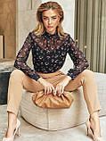 Блузка в квітковому принті з шифону з довгим рукавом і коміром стійка, фото 7