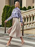 Блузка в квітковому принті з шифону з довгим рукавом і коміром стійка, фото 10