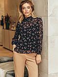 Блузка в квітковому принті з шифону з довгим рукавом і коміром стійка, фото 4