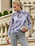 Блузка в квітковому принті з шифону з довгим рукавом і коміром стійка, фото 9