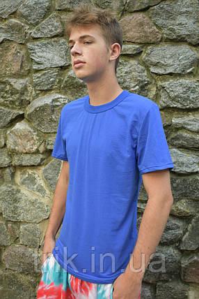 Синя футболка однотонна для хлопчика, фото 2