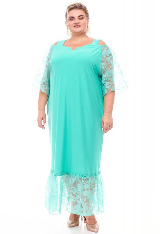 Нарядное платье батал для полных женщин мятное с органзой