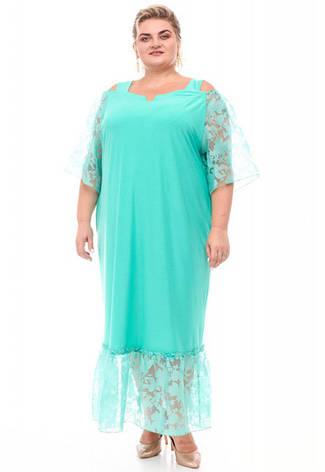 Нарядное платье батал для полных женщин мятное с органзой, фото 2