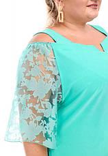 Нарядное платье батал для полных женщин мятное с органзой, фото 3
