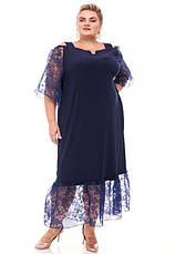 Платье нарядное батальное темно-синее прямого кроя, фото 2