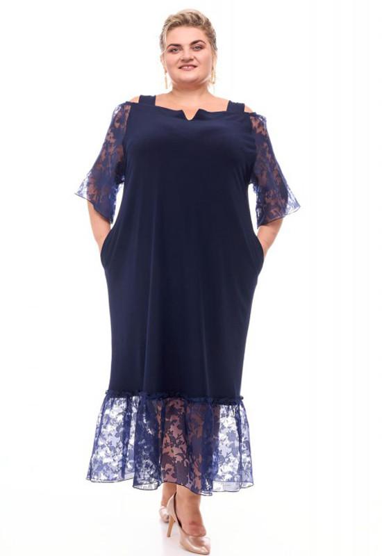 Платье нарядное батальное темно-синее прямого кроя