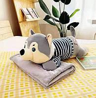 Мягкая флисовая игрушка плед-подушка 3 в 1 в виде Волка