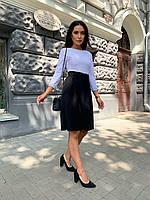 Женское платье до колена белый верх темный низ под поясок, фото 1