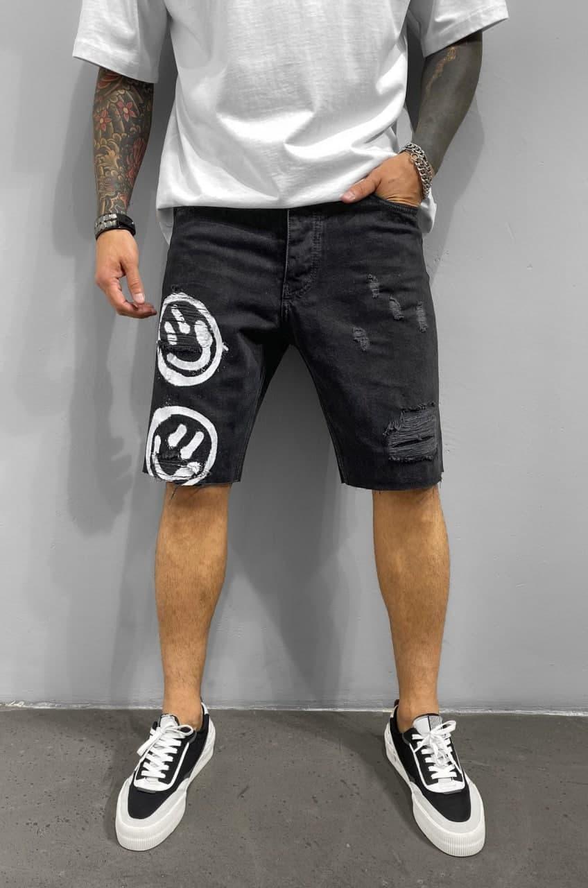 Джинсовые шорты черные Деним мужские джинсовые бриджи синие