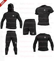 """Компрессионная одежда комплект 5 в 1 Adidas (Адидас) для тренировок Черный Пакистан """"В СТИЛЕ"""""""