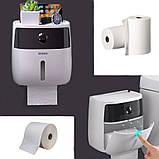 Держатель для туалетной бумаги и салфеток Ecoco с полкой Органайзер в ванную комнату черный, фото 6