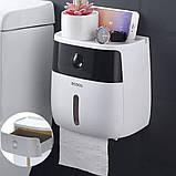 Держатель для туалетной бумаги и салфеток Ecoco с полкой Органайзер в ванную комнату черный, фото 7