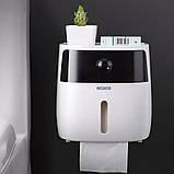 Держатель для туалетной бумаги и салфеток Ecoco с полкой Органайзер в ванную комнату черный, фото 8