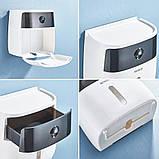 Держатель для туалетной бумаги и салфеток Ecoco с полкой Органайзер в ванную комнату черный, фото 9