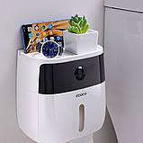 Держатель для туалетной бумаги и салфеток Ecoco с полкой Органайзер в ванную комнату черный, фото 10