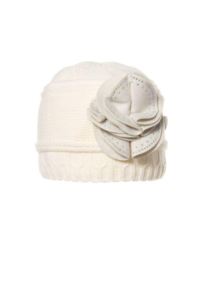 Женская теплая модная  шапка с цветком из фетра.