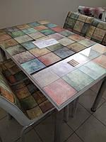 """Раскладной стол обеденный кухонный комплект стол и стулья рисунок 3д """"Зеленые квадраты"""" стекло 70*110 Лотос-М, фото 1"""