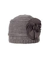 Женская теплая модная  шапка с цветком из фетра., фото 2