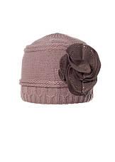 Женская теплая модная  шапка с цветком из фетра., фото 3