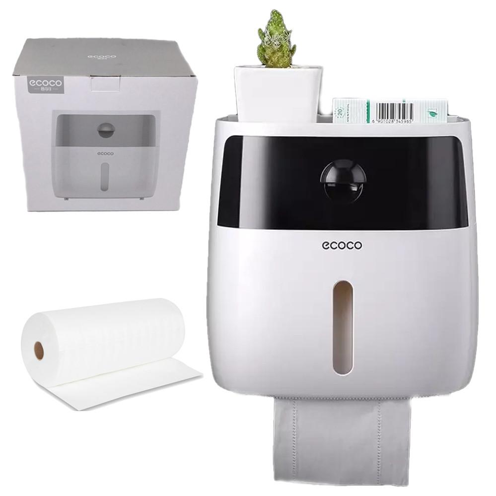 Держатель для туалетной бумаги и салфеток Ecoco с полкой Органайзер в ванную комнату черный