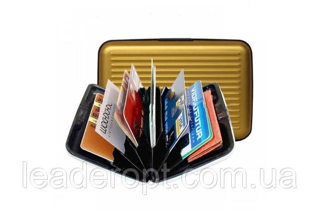 [ОПТ] Кошелёк для хранения банковских карточек с алюминиевой вставкой Aluma Wallet унисекс, фото 1