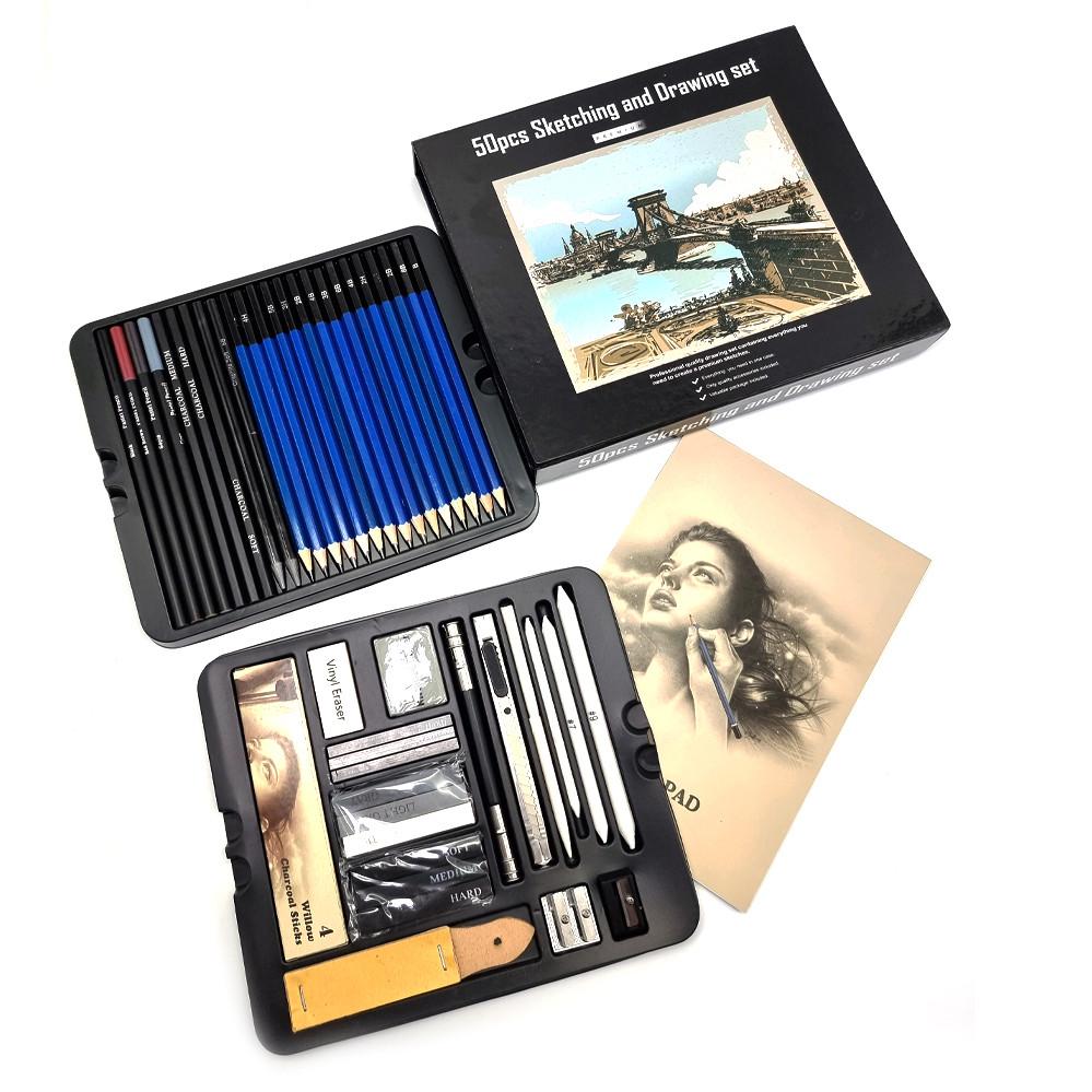 Профессиональный набор графитных карандашей 50 предметов для скетчинга и рисования Скетч карандаши для графики