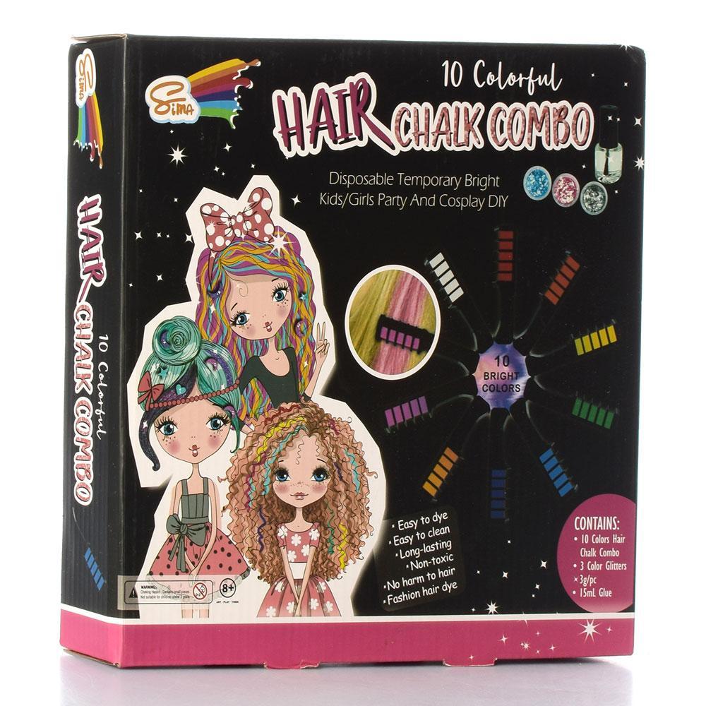 Косметика SM-CR17 (12шт) фарба для волосся (10цв), блиск, клей, в кор-ке, 26-26-5см