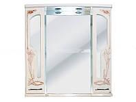 Шкаф зеркальный Атолл Барселона 95 (белое дерево, патина медь), 920х200х960 мм