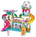 """Конструктор для дівчаток Рожева серія """"Cherry"""" Brick/Qman 2022 Курорт аквапарк з фігурками людей (828 деталей), фото 3"""