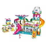 """Конструктор для дівчаток Рожева серія """"Cherry"""" Brick/Qman 2022 Курорт аквапарк з фігурками людей (828 деталей), фото 4"""