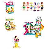 """Конструктор для дівчаток Рожева серія """"Cherry"""" Brick/Qman 2022 Курорт аквапарк з фігурками людей (828 деталей), фото 5"""