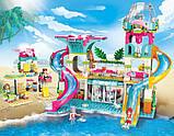 """Конструктор для дівчаток Рожева серія """"Cherry"""" Brick/Qman 2022 Курорт аквапарк з фігурками людей (828 деталей), фото 6"""