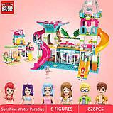 """Конструктор для дівчаток Рожева серія """"Cherry"""" Brick/Qman 2022 Курорт аквапарк з фігурками людей (828 деталей), фото 7"""