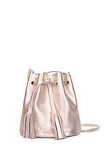 Золота шкіряна сумочка на зав'язках Bucket