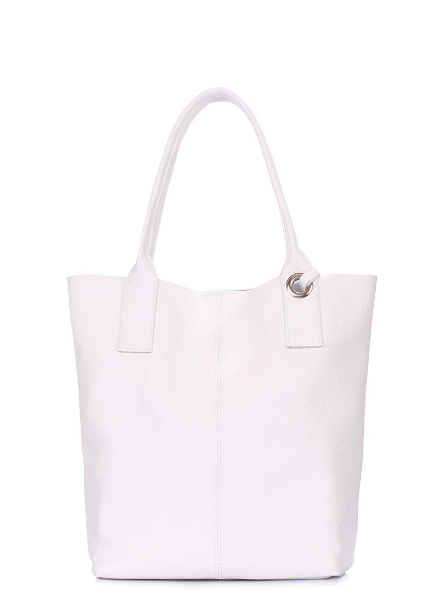 Біла шкіряна сумка Podium