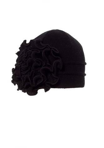 Женская теплая модная  шапка с объемным вязанным цветком., фото 2
