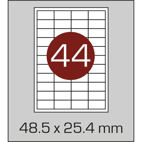 Этикетка самоклеящаяся А4 (44 шт на листе) 48,5х25,4мм